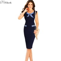 New Womens Sexy Elegant Casual Party Pencil Dresses Bowknot Pinup Wear to Work Business Sheath Bodycon Dress