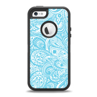 The Light Blue Paisley Floral Pattern V3 Apple iPhone 5-5s Otterbox Defender Case Skin Set