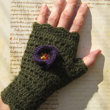 Khaki dark green mittens fingerless gloves 100% Alpaca violet purple flower victorian crochet lace steampunk boho carnelian gemstone