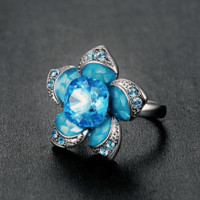 Swarovski Elements Blue Flower Ring