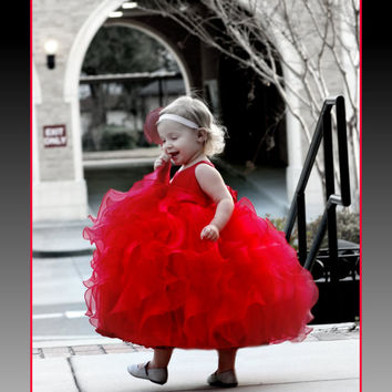 Red flower girls dress, tea-length,  lots of ruffles, perfect for Christmas, Valentines, or weddings