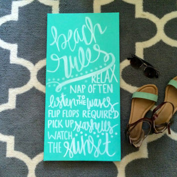Beach rules sign- hand lettered canvas