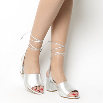 Office Miffi Tie Block Sandals Silver Leather - Mid Heels