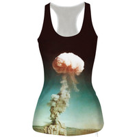 Atomic Bomb Printed Tank Top Summer Sports Vest for Women