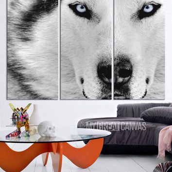 Large Wall Art 3 Panel Wolf Canvas Print - 3 Piece Husky Wall Art Canvas Printing - Blue Eye Color Canvas Art Print - MC60
