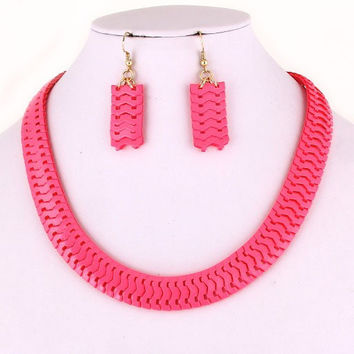 Snakeskin Necklace/Earrings Set - Neon Green or Pink