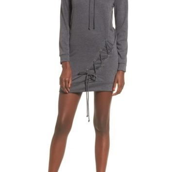 Dee Elly Lace Up Hoodie Dress | Nordstrom