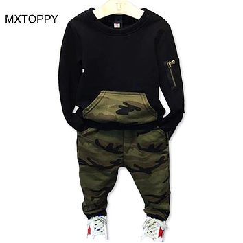 Camouflage Children Clothing Set New Spring Autumn Toddler Boys Clothing Black Shirts Pants Kids Sports Suits for Boys Clothes