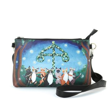 Dancing Cats in Forest Clutch Bag in Vinyl Material