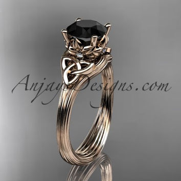 14kt rose gold diamond celtic trinity knot wedding ring, engagement ring with a Black Diamond center stone CT7240