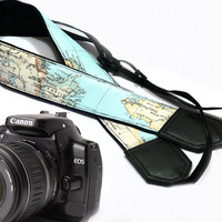 World Map Camera Strap. DSLR Camera Strap. Vintage Camera Strap. Camera accessories. Canon camera strap. Nikon.