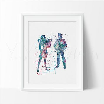 Pocahontas and John Smith Watercolor Art Print