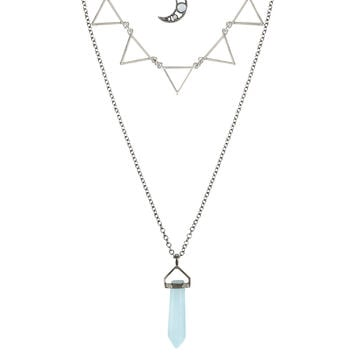 Moon Blue Crystal & Triangle Layered Necklace