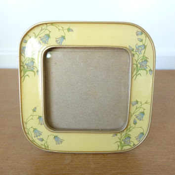 Square yellow enamel floral picture frame with bluebells