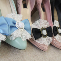Elegant Lolita Shoe Clips custom made with blue satin ribbon, vintage lace and a rose cabochon.