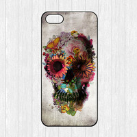 Sugar Skull iPhone 5 Case,Colorful Floral Skull iPhone 5 Hard Case,cover skin case for iphone 5 case,More styles for you choose
