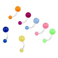 Hot sale 7Pcs Glow In The Dark Belly Navel Bars Rings Body Piercing Plastic Shiny Barbells Bending Random color