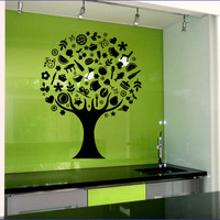 Wall Vinyl Decals Cafe Kitchen Tree Decal Sticker Home Decor Art Mural Z538