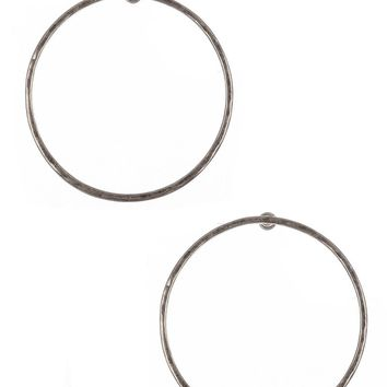 Sliver Hammered Metal Large Ring Earring
