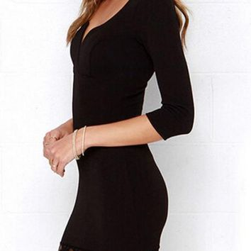 Midnight Black Lace Dress Patchwork Lace 3/4 Length Sleeve Plunging Neckline Bodycon Evening Gowns Elegant Mini Dress