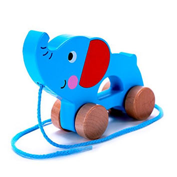 Adorable Elephant Wooden Push & Pull Along Toy for Baby & Toddler - Rolls Easy, Sturdy String Attached to Animal | Classic Developmental Toy for 1 & 2 Year Old Boys & Girls