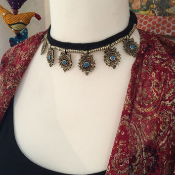 Beautiful Vintage Afghan Hippy Boho Kuchi Ethnic Tribal Banjara Festival Indie Choker Necklace