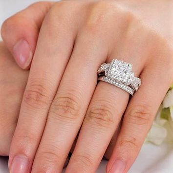 Vintage Style Bridal Ring Set