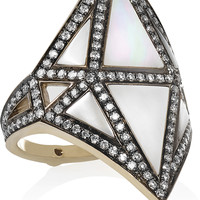 Noor Fares - Nellum 18-karat gray gold, diamond and mother-of-pearl ring