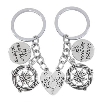 2pcs/set Best Friends Key Chain Vintage No Matter Where Compass Pendant Keychain BFF Long Distance Friendship Key Ring Chaveiro