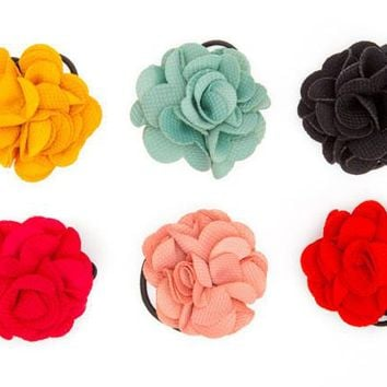 Ruffle Rose Hair Ties - Beautiful Hair Accessories for Girls by Little Pink
