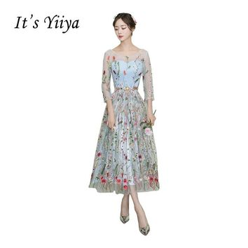 It's Yiiya New O-neck Illusion Tulle Embroidery Party Gown Prom Gowns Lace Ankle-length Sexy Flowers A-line Formal Dresses X322