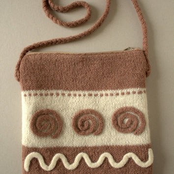 Knitted and felted purse with lining and zipper, bag, handbag with lining and zipper