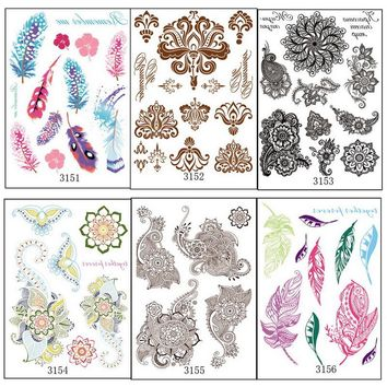 6pcs/lot Multi-style book series Fashion Cool Temporary Tattoo sticker Color feather brown black henna Mehndi body arm hand 315