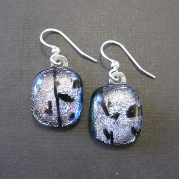 Dichroic Silver Earings, Evening Earrings, Valentines Day, Pierced Earrings, Holiday Earrings - Monroe - 1569 -2