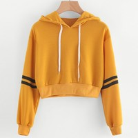 New Fashion Sweatshirts 2017 Women Varsity-Striped Drawstring Crop Hoodie Sweatshirt Pullover Tops Female sudaderas mujer #920