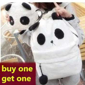 20L cute style girls corduroy panda backpack middle schoolbag mochila feminina Buy one get one 2015 NEW