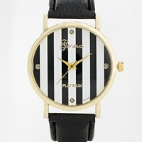 Reclaimed Vintage Striped Black Strap Watch at asos.com