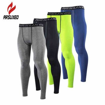 DCCK7N3 ARSUXEO Men Compression Base Layers Running Elast Tights Pants Fitness Workout ym Bodybuilding Basketball Leggings Clothing