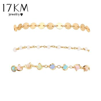 17KM Multicolor Irregular Shape Sequins Bracelets Set For Women New Boho Femme Round Gold Color Crystal Bracelet Chain Jewelry