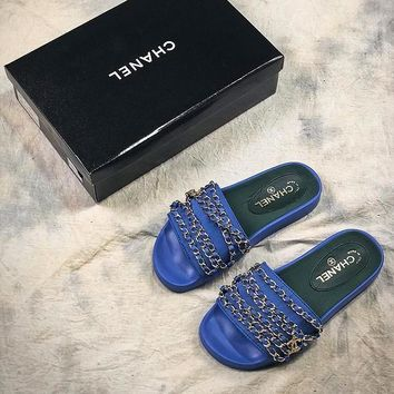 Chanel Chain Velvet Slippers Blue Sandals - Best Online Sale