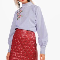 Nicola Stipe Floral Embroidered Top | Boohoo