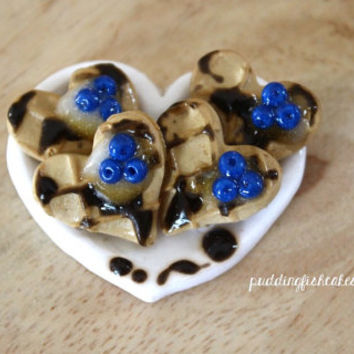 Magnet - Blueberry Heart Waffles - Miniature Food - Chocolate - Polymer Clay