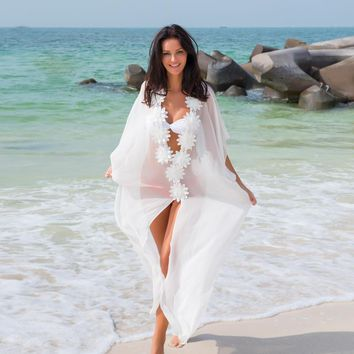 NODELAY Sexy Chiffon Beach Cover Up Bikini Women Flower Pareo Beach Tunic Dress White Long Robe Bathing Suit Cover Ups Kaftan