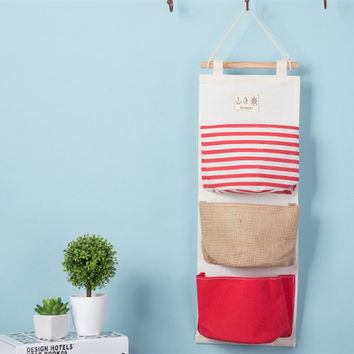 Navy Cotton Linen Storage Bags [6377499076]