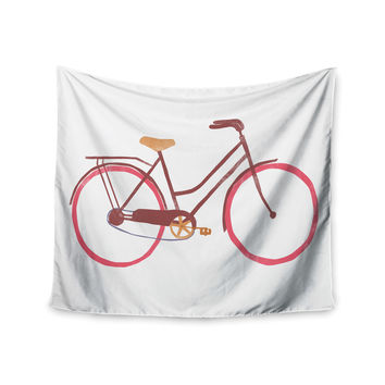 "Alik Arzoumanian ""Bike"" White Pink Wall Tapestry"