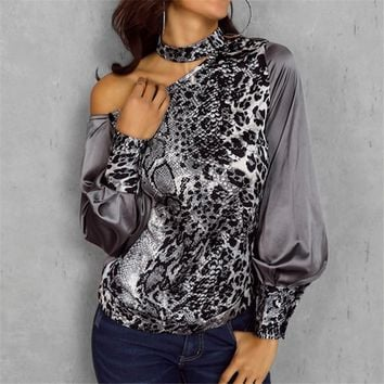 Trend Womens Leopard Print Long Sleeve Tops and Blouses Loose OL Shirts Snakeskin Party blusas femininas elegante chemise femme