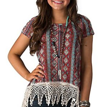 PPLA Clothing Women's Rust Print with Cream Crochet Hi-Lo Short Sleeve Top