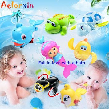 Baby Bath Toys Cute Cartoon Animal Tortoise Toy In The Bath Infant Swim Chain Clockwork Classic Kid Educational Toys