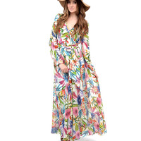 1970s Style Cream & Multicolor Floral Print Long Sleeve Maxi Dress