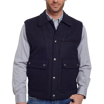 Wool Melton Vest With Nubuck Leather Trim